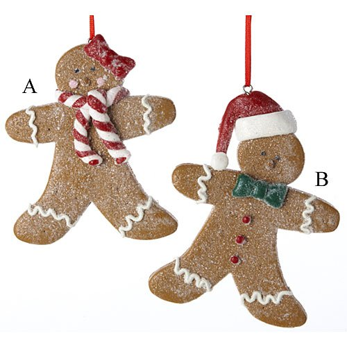 - Set Of 2 Gingerbread Boy and Girl Ornaments