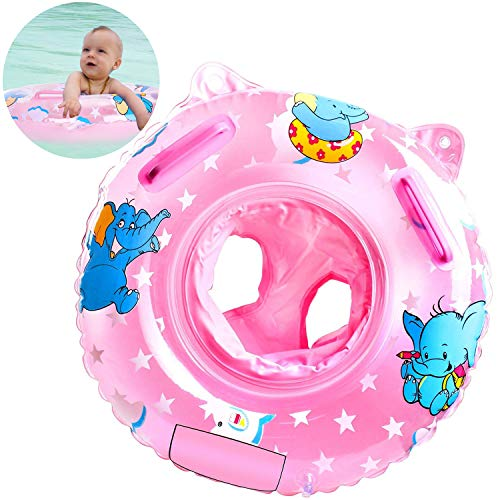 Sealive Inflatable Baby Pool Float Swimming Ring, Toddler Pre-School Learn to Swim Ring Water Fun Baby Bath Toys (1PC,Pink)