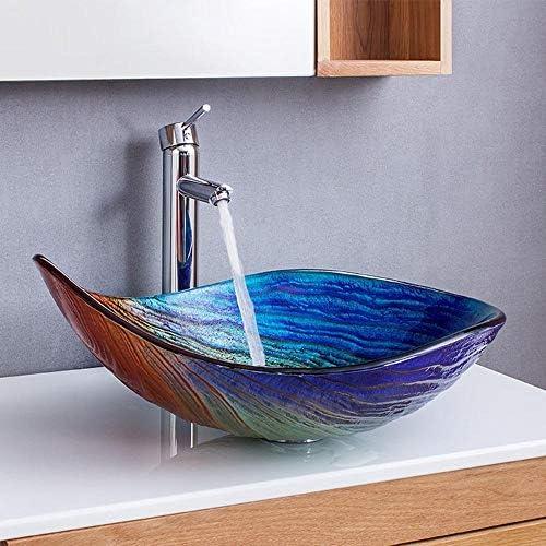 セラミック洗面器 舟形のバスルームアートグラス洗面台のシンクのモダンデザインのユニークな強化ガラス洗面ボウル バスルームキャビネットシンク (色 : 色, Size : 55x38x17cm)