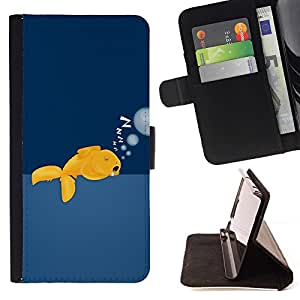 DEVIL CASE - FOR Samsung Galaxy S6 EDGE - Funny Sleeping Goldfish - Style PU Leather Case Wallet Flip Stand Flap Closure Cover