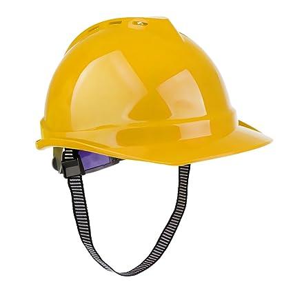 Sharplace Casco de Seguridad Durable Ventilado Protector de Cabeza para Trabajo Construcción - amarillo
