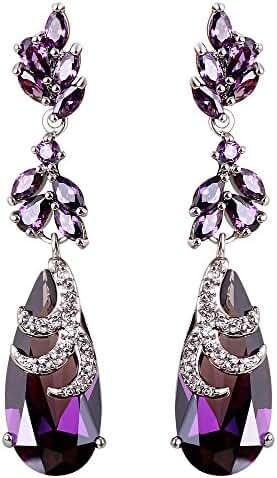 AAA Cubic Zirconia Water Drop Women Long Dangling Earrings Luxury Engagement Wedding Jewelry 6 Colors