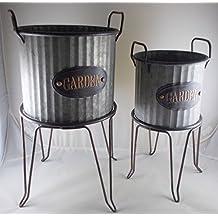 Set of 2 Metal Freestanding Farmhouse Planter