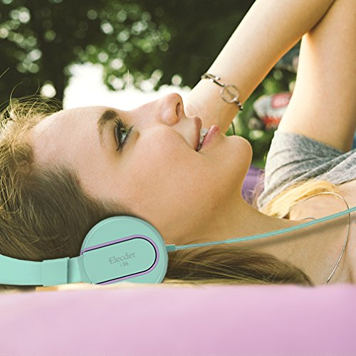 Elecder i36 Kids Headphones Children Girls Boys Teens Foldable Adjustable On Ear Headphones 3.5mm Jack Compatible Cellphones Computer Kindle MP3/4 School Tablet Green/Purple