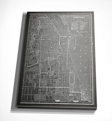 (WEXFORD HOME Chicago Sketch Map Grey Gallery Wrapped Canvas Wall Art, 36X48,)
