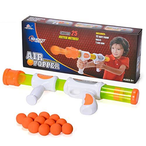 WishaLife Deluxe Creative Shooting Gun Toy Ball Shooter Blaster Gun Foam Shooter Battle Ball Gun Atomic Pump Action Shooter Air Power Popper Gun Air Shot Soft Foam Bullet Gun Children Toy Gun