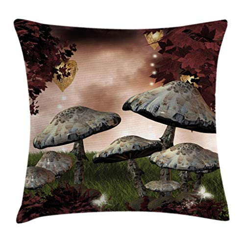"""Ambesonne Fantasy Throw Pillow Cushion Cover, Enchanted Fairytale Forest Scenery with Mushrooms and Fairies Dark Image, Decorative Square Accent Pillow Case, 24"""" X 24"""", Maroon Grey"""
