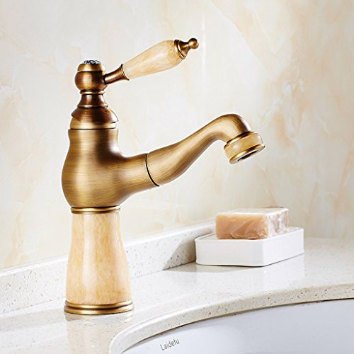 Faucet Cqq European Style Antique Full Copper Main Body Pull-Type Single-Hole Retro hot and Cold scalable Shampoo Table Basin by Faucet