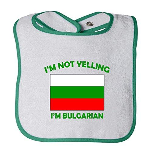 (Cute Rascals I'M Not Yelling I Am Bulgarian Bulgaria Tot Contrast Trim Terry Bib White/Green)