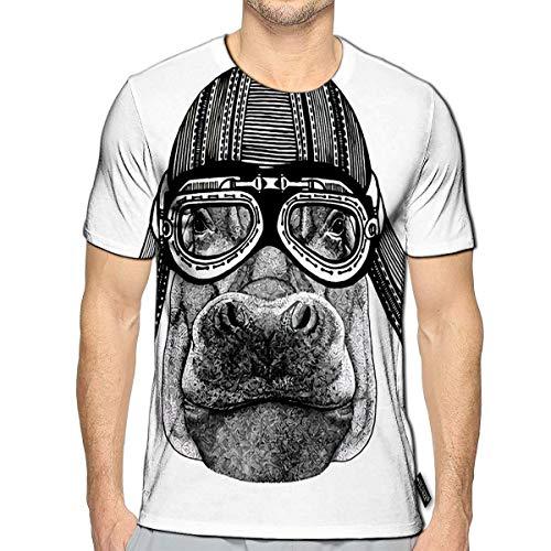 3D Printed T-Shirts Hippo Hippopotamus Behemoth River Horse Animal Wearing Motorcycle Helmet Short Sleeve Tops Tees b