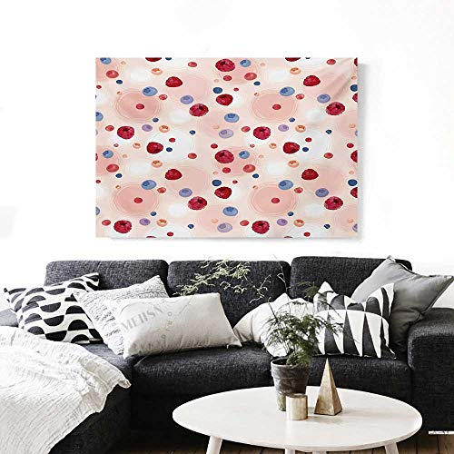"""BlountDecor Peach Modern Canvas Painting Wall Art Raspberries Blueberries Cranberries Food Themed Design with Abstract Circle Backdrop Art Stickers 24""""x16"""" Multicolor"""