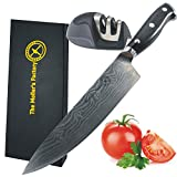 Professional Sharp Chef Knife 8 Inch Blade, Wooden Ergonomic Handle, High Carbon German Stainless Steel with Japanese Damascus Decoration. Bonus – Sharpener +eBook Foreign Dishes, Moller's Factory