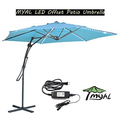 MYAL 10Ft Led Cantilever Umbrella Offset Patio Umbrella Outdoor Umbrella Light 180 LED Turquoise