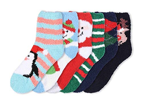 I&S 6 Pairs Crew Cozy Socks, Printed Fun Colorful Festive, Women Fancy Design Soft (Christmas #5 Fuzzy Above Ankle)