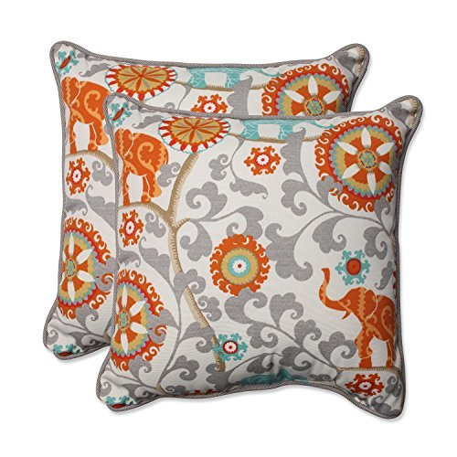 Pillow Perfect Outdoor/Indoor Menagerie Cayenne Throw Pillow, Set of 2 18.5