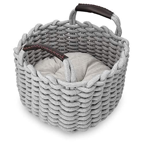 Navaris Katzenkorb aus Stoff mit Kissen – Katzenbett Hundebett weich in Korboptik – Bett für Katzen und Hunde…
