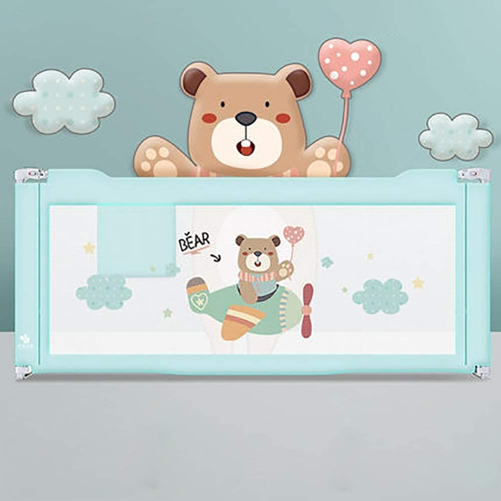ベッドガード 幼児手すり安全で子供たちはベッド落下防止ベッドサイドフェンスベビーアンチ冷たいガードレールユニバーサルから落ちます (色 : 青, サイズ : 190cm)