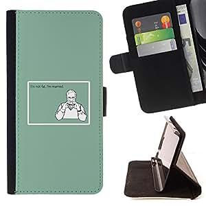 BullDog Case - FOR/Samsung Galaxy A3 / - / fat married diet quote funny junk food /- Monedero de cuero de la PU Llevar cubierta de la caja con el ID Credit Card Slots Flip funda de cuer