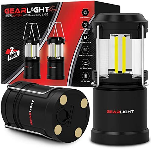GearLight LED Lantern with Magnetic Base 2 Pack Updated – Battery Powered and Operated Camping Lanterns with Hanging Hook – Best Outdoor, Indoor, Hurricane, Emergency Light, Tent Lamp