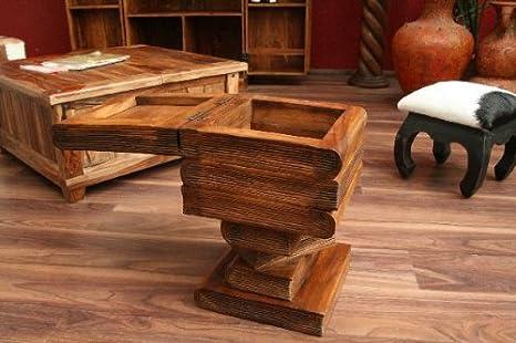 Beistelltisch Aufklappbar Stauraum Massiv Holz Bücherstapel Tisch Couchtisch Neu