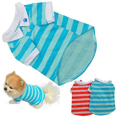 GigaMax(TM) Summer Spring New Cute Dog Puppy T Shirt Clothes Lapel Stripe Cotton Pet Clothes Red/Blue, XS/S/M/L