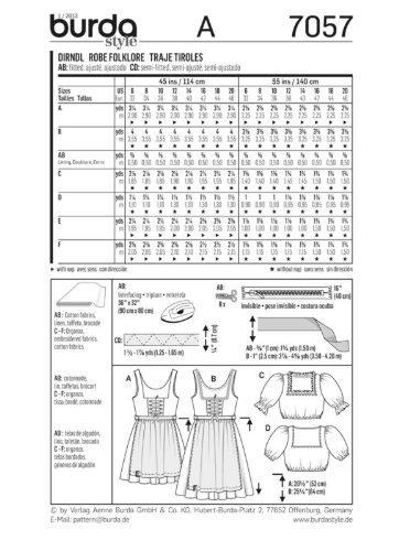 Amazon.com: Burda Ladies Sewing Pattern 7057 Folklore Dirndl ...