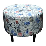 Sole Designs Prime Stamped Series Sophia Collection Round Upholstered Ottoman with Espresso Leg Finish, Blue/Red Finish