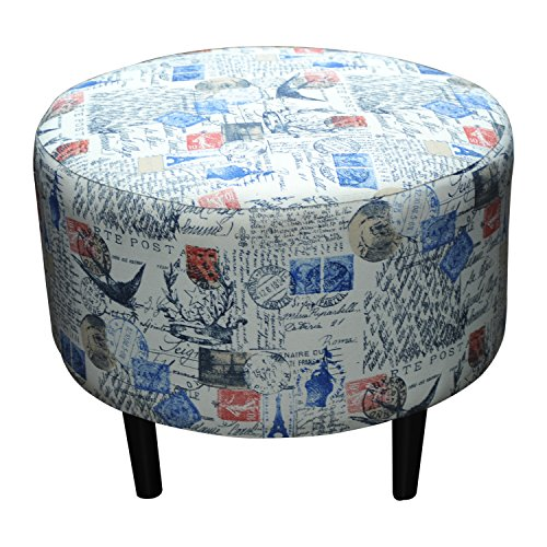Sole Designs Prime Stamped Series Sophia Collection Round Upholstered Ottoman with Espresso Leg Finish, Blue/Red Finish (Sophia Fabric Collection Sofa)