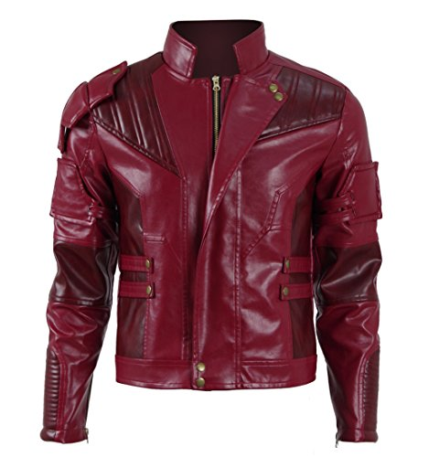 Hot Comic Movie Guardians Lord Quil Costume Men's Red Leather Jacket Halloween (US Men-L, Red)]()