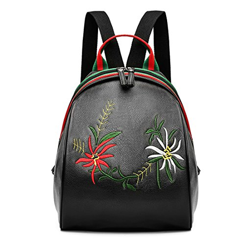 GWELL Mini Flower Embroidered Dome Backpack PU Leather Shoulder Bag Outdoor Schoolbag Black Embroidered Leather Backpack