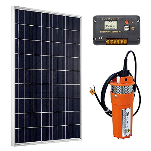(ECO-WORTHY Solar Deep Well Water Pump Kit, 100W Poly Solar Panel with 12V Deep Well Water Pump & 20A Charge Controller for Home Irrigation Ranch Farm )