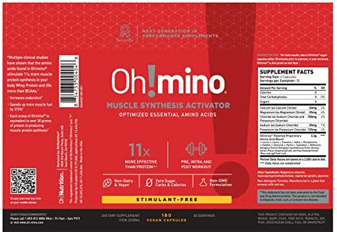 Oh mino Amino Acids Supplement Capsules Pre and Post-Workout Muscle Synthesis Activator with Electrolytes Stimulant Free, Vegan Friendly