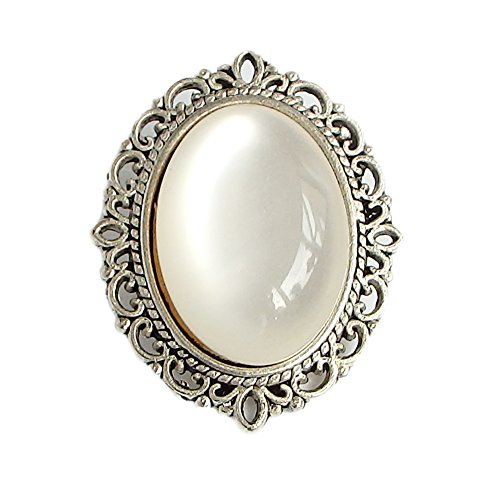 White Cat Eye Stone - Vintage Brooch For Women White Cat Eye Stone Alloy Metal RareLove