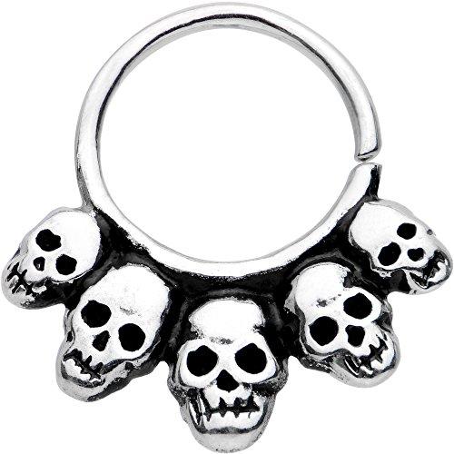 Body Candy White Brass Macabre Skulls Septum Ring 18 Gauge 9mm - Skull Septum Ring