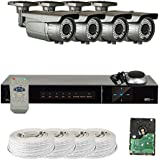 GW Security VD4CH4C50HDSDI 4 Channel HD SDI DVR 1080P Security Camera System with 4 x 2.1 MP Varifocal Zoom Outdoor Cameras and 1TB Hard Drive (Grey)