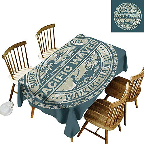 Modern Easy to care for leakproof and durable long tablecloths Outdoor picnic Pacific Waves Surf Camp and School Hawaii Logo Motif with Artsy Effects Design W14 x L108 Inch Khaki Slate Blue (Waves Surf Camp)