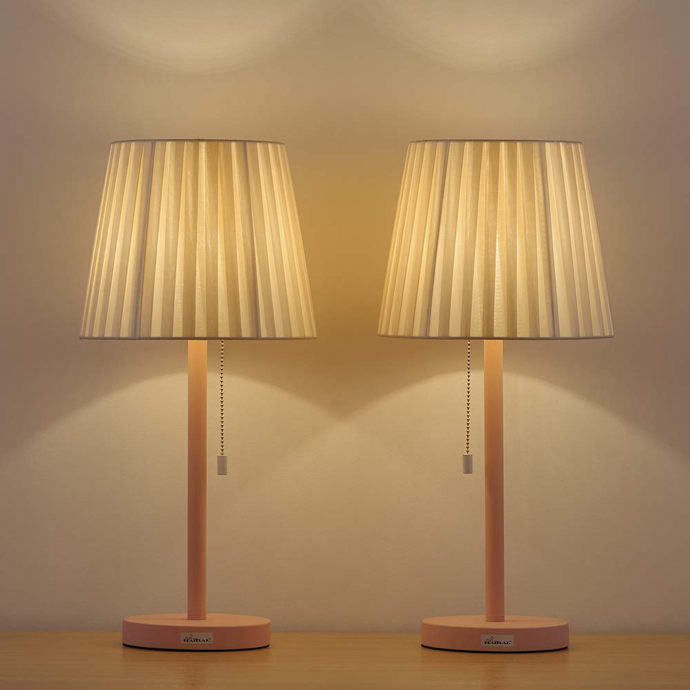 HAITRAL Table Lamp 2 Pack Set - Decorative Room Nightstand Light Lamp with Nature Beige Shade, Elegant Desktop Lamps for Gifts, Office, Bedroom, College Dorm, Girls Room - White