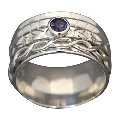 Energy Stone HEARTSTRINGS Spinning Ring Faceted Iolite (Style# US49)
