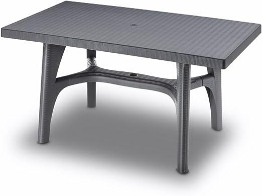 ARREDinITALY – Mesa para Exterior (Tecnopolimero 140 x 90 cm. – Color Antracita – 100% Made in Italy: Amazon.es: Jardín
