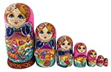 Beautiful Color Cute Little Girl Fairy Tale Handmade Wooden Russian Nesting Dolls Matryoshka Dolls Set 7 Pieces for Kid Toy Birthday Home Decoration
