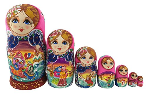 Beautiful Color Cute Little Girl Fairy Tale Handmade Wooden Russian Nesting Dolls Matryoshka Dolls Set 7 Pieces for Kid Toy Birthday Home Decoration by Winterworm (Image #9)