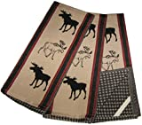 Moose Black, Red, and Tan Cotton Kitchen Dish Towels Set (3 Items)