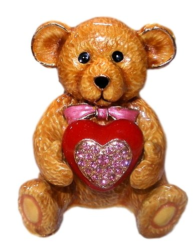 Sweet Brown Teddy Bear Holding Big Red & Pink Heart Austrian Crystal Enamel BOX