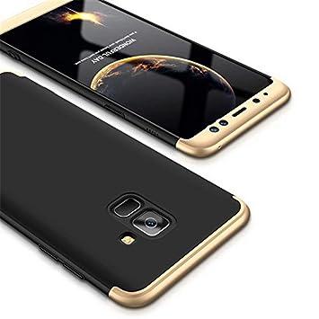 Funda Samsung Galaxy J6 (2018) MISSDU Thin Fit 360 Carcasa Exact Slim de protección Completa y Protector de Pantalla de Vidrio Templado, Oro Negro