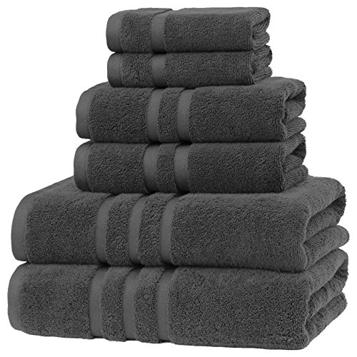 Luxury Hotel & Spa, Turkish COTTON,6 Pieces Towels Set, Max-Softness by Veteran Textile (Graphite)