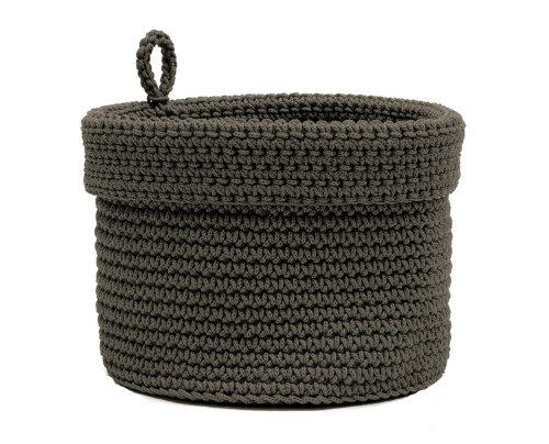 Heritage Lace Mode Crochet Round Basket with Loop, 8 by 8-Inch, Charcoal