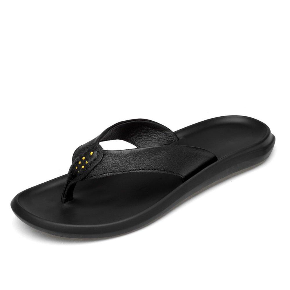 MKTSL Sommer neue groszlig;e Grouml;szlig;e Herren Hausschuhe Flip Flops koreanische Version der ersten Schicht aus Leder Sandalen Strand Schuhe  38|Schwarz 02