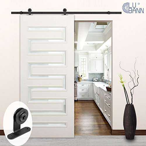 LUBANN 6.6FT Top Mount Sliding Wood Barn Door Hardware Sliding Track Kit Straight Roller ▫ Ultra Quiet ▫ Superior Quality ▫ Tested Beyond 10,000 Rolls (Classic Basic) ()