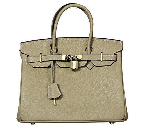 VIDENG POLO Padlock Handbags Genuine Leather with Gold Hardware Tote Shoulder Bag for Women (30-Khaki) by VIDENG POLO