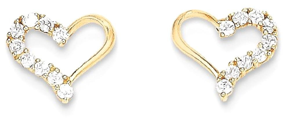 ICE CARATS 14k Yellow Gold Cubic Zirconia Cz Heart Post Stud Earrings Love Fine Jewelry Gift Set For Women Heart by ICE CARATS (Image #2)
